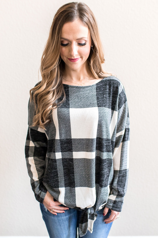 Amber Plaid Tie Top