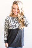 Z-Alina Leopard Color Block Top