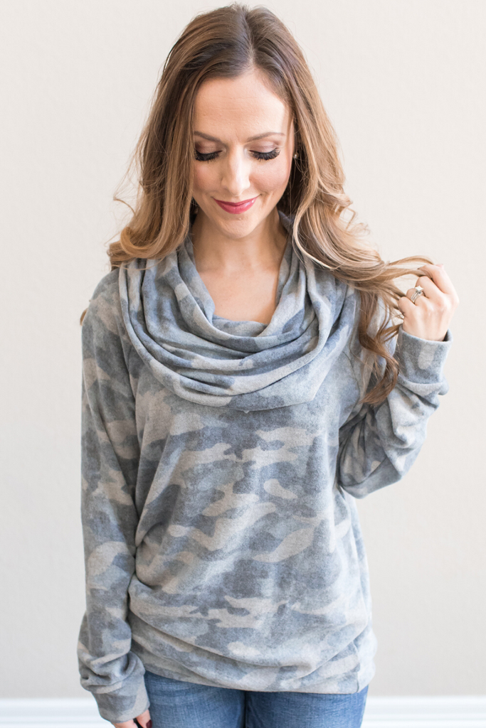 Kylie Camo Cowl Neck Top
