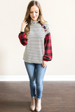 Char Plaid and Stripe Pullover