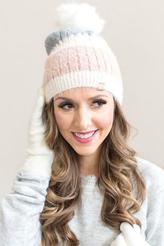 Eve Pom Beanie (Tan or Pink)