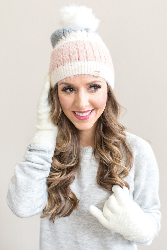 Noelle Hat and Glove Set (Pink, Black or Tan)