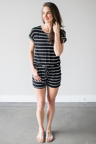 Tessa Striped Short Sleeve Romper