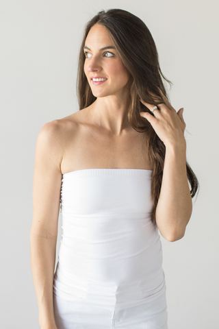 Seamless Strapless Cami (white or ivory)