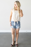 Pearl Sleeveless Tie Top - Navy or Ivory