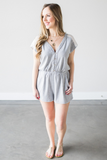 Clementine Stripes & Lace Romper
