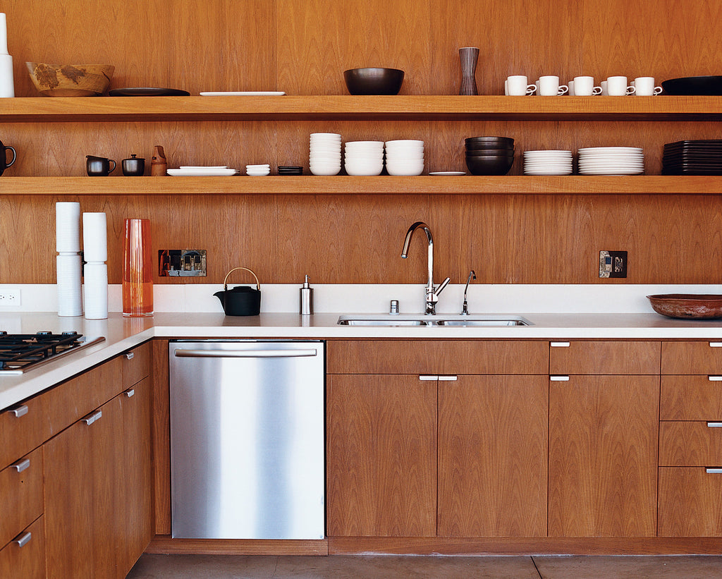 Teak wood kitchen cabinetry - Photo by Daniel Hennessy for Dwell Magazine