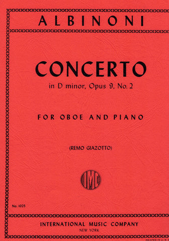 Albinoni, ed. Giazotto - Concerto in D Minor Op. 9/2 - Oboe and Piano