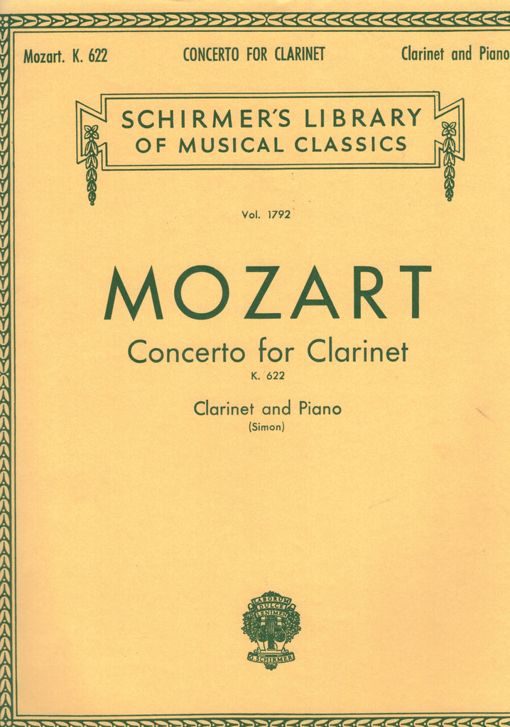 Mozart - Concerto for Clarinet, K. 622 - Clarinet in Bb and Piano
