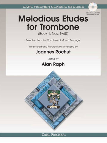 Bordogni, arr. Rochut, ed. Raph - Melodious Etudes for Trombone, Book 1 (w/audio access) - Trombone Method