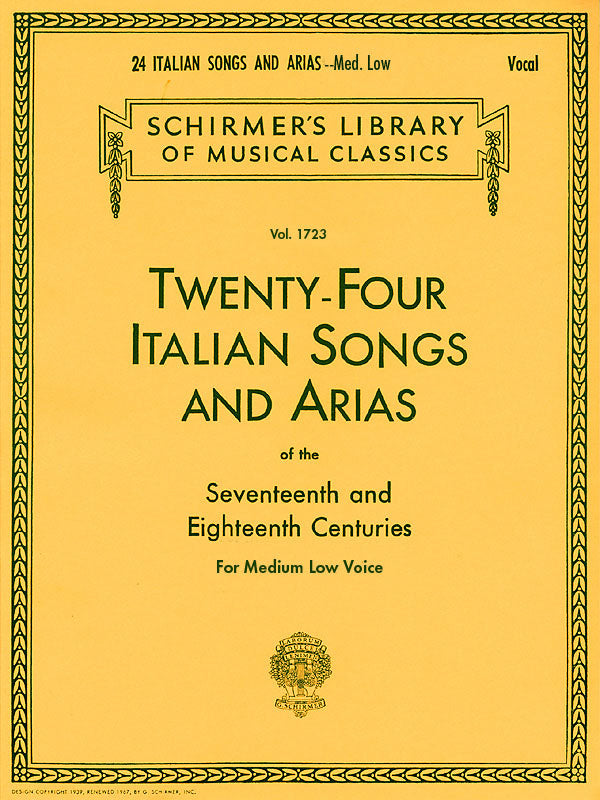 Various - 24 Italian Songs and Arias of the 17th and 18th Centuries - Medium Low Voice and Piano