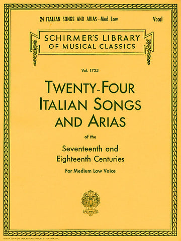 24 Italian Songs & Arias - Medium Low Voice - Book Only