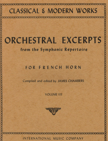 ed. Chambers - Orchestral Excerpts, Vol. 3 - Horn