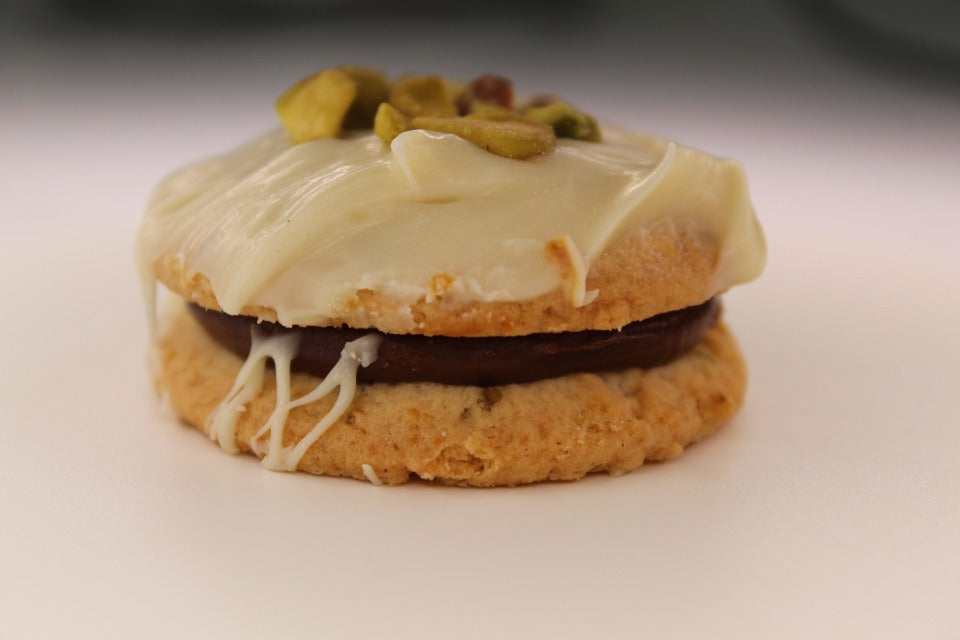 Pistachio White Chocolate Alfajores