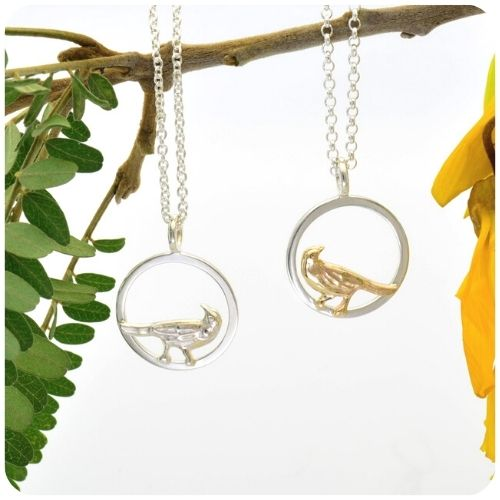 Fantail Birds on silver hoops