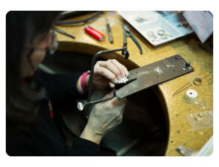 Yvon at the jewellers workbench