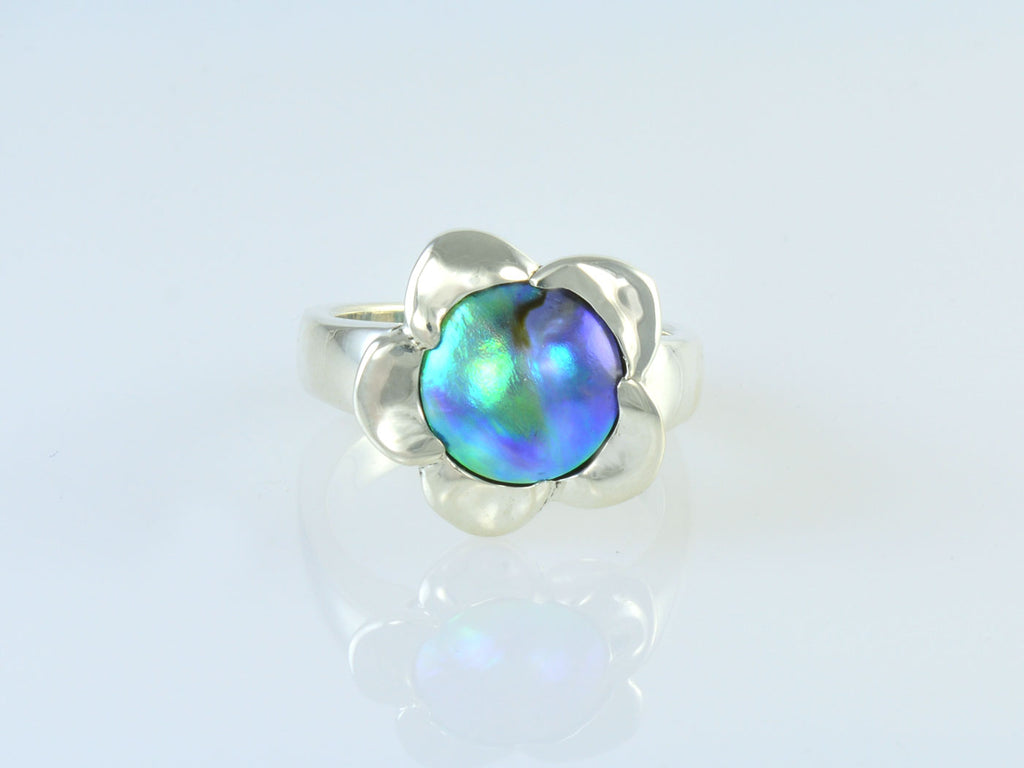 Blue pearl flower ring side view