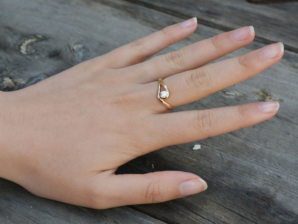 Diamond Solitaire rose gold ring - San Jose on model