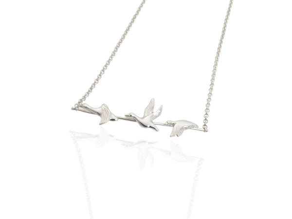 flying duck necklace in silver