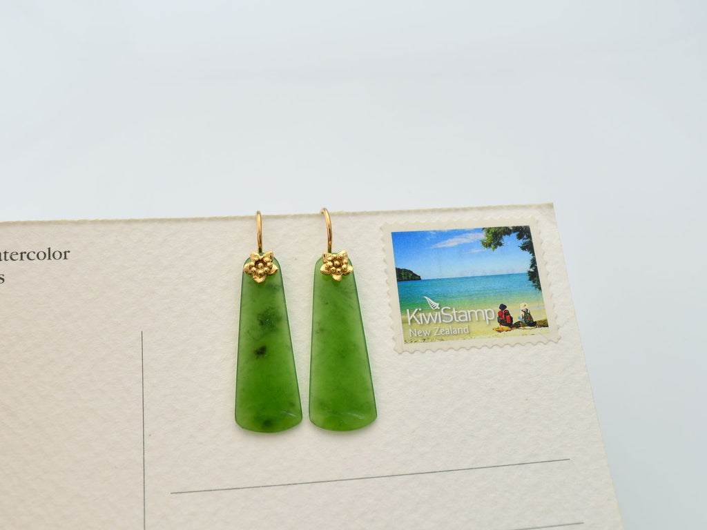 greenstone drop earrings with flower on size sample