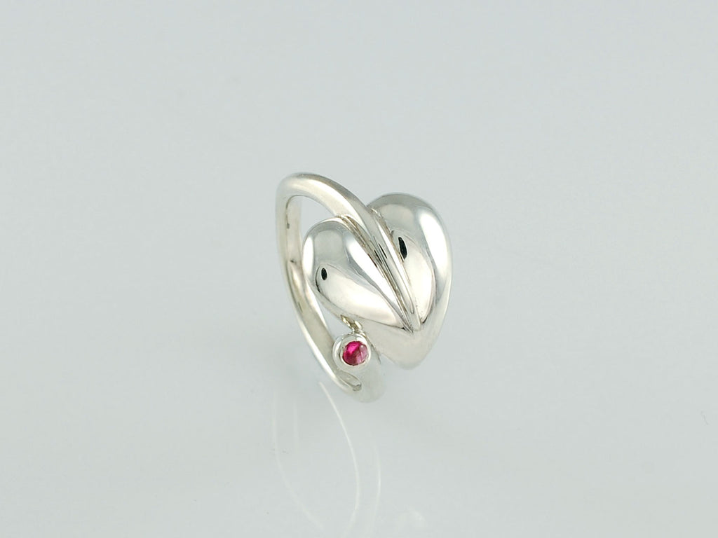 silver leaf ring  This one is set with ruby