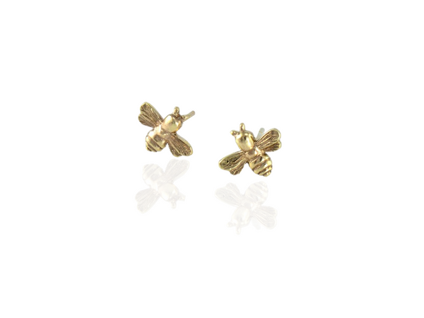 bee stud earrings in gold