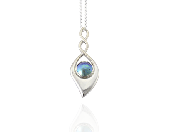 blue pearl eternity twist pendant