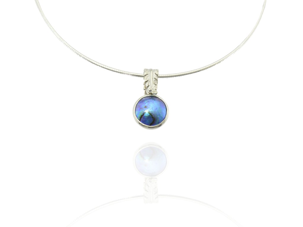 blue pearl pendant with silver fern bail
