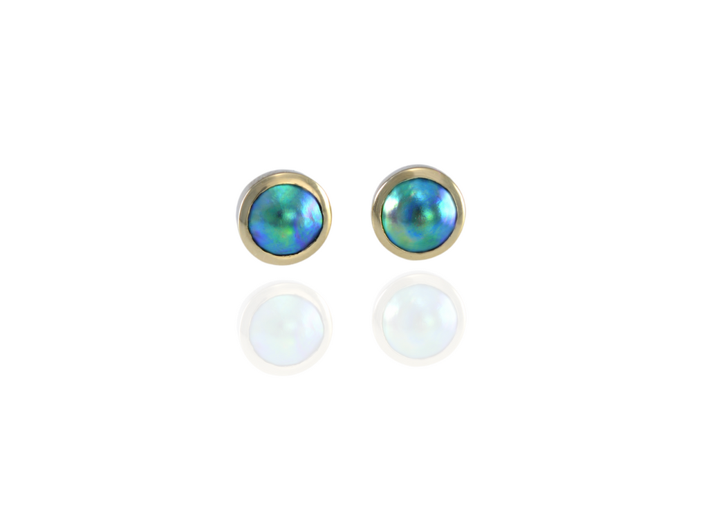 NZ blue pearl stud earrings in 9ct gold