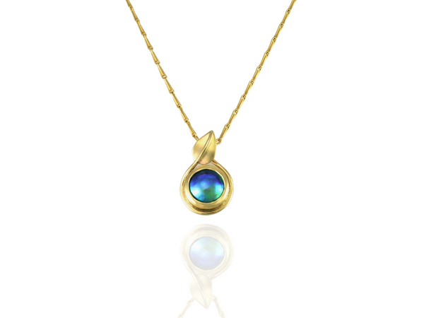 Blue Pearl Leaf pendant gold