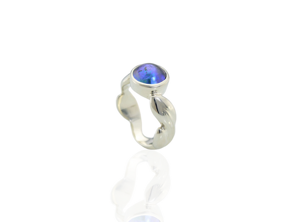 blue pearl leaf ring in silver