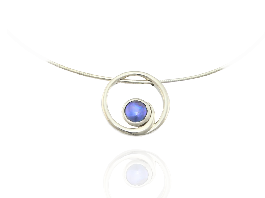 Blue Pearl Koru Pendant, silver on Omega chain