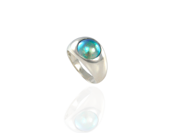 blue pearl silver domed ring