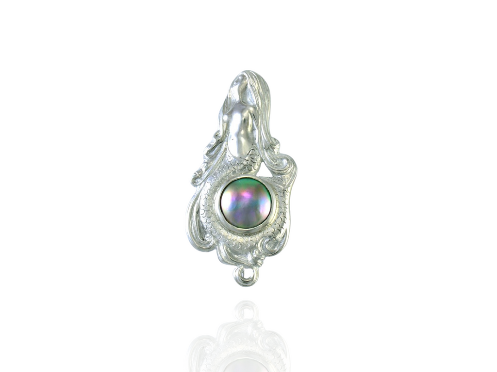 blue pearl mermaid brooch silver