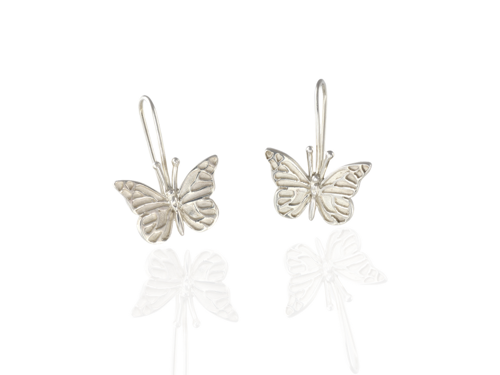 butterfly drop earring silver