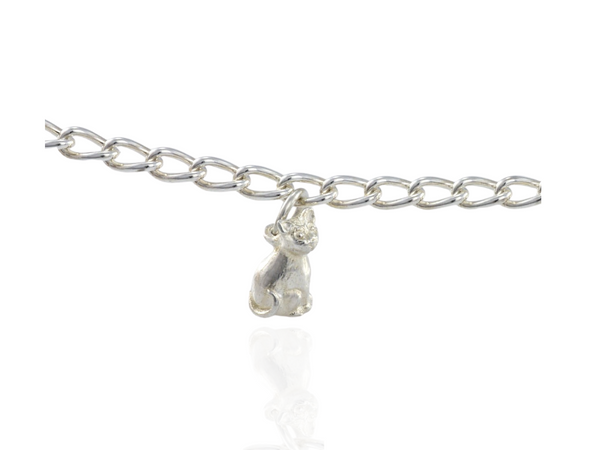 cat charm silver
