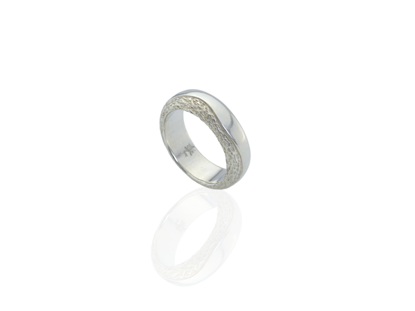 silver chunky band ring textured