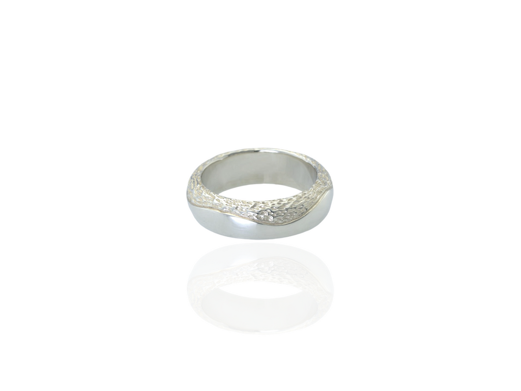 mens chunky band ring textured