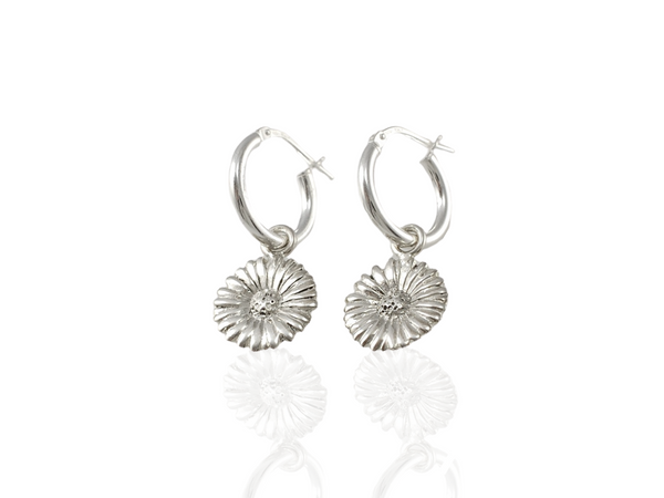 daisy hoop earrings in silver
