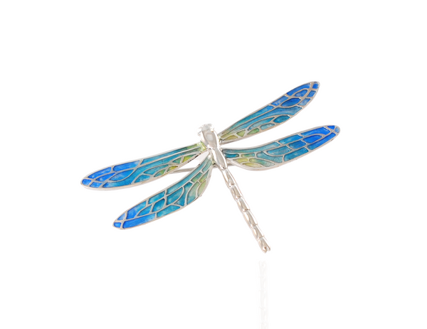 dragonfly brooch blue in silver
