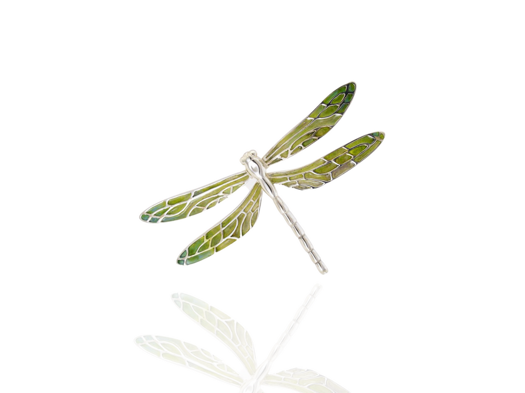 dragonfly brooch  in silver - forest green
