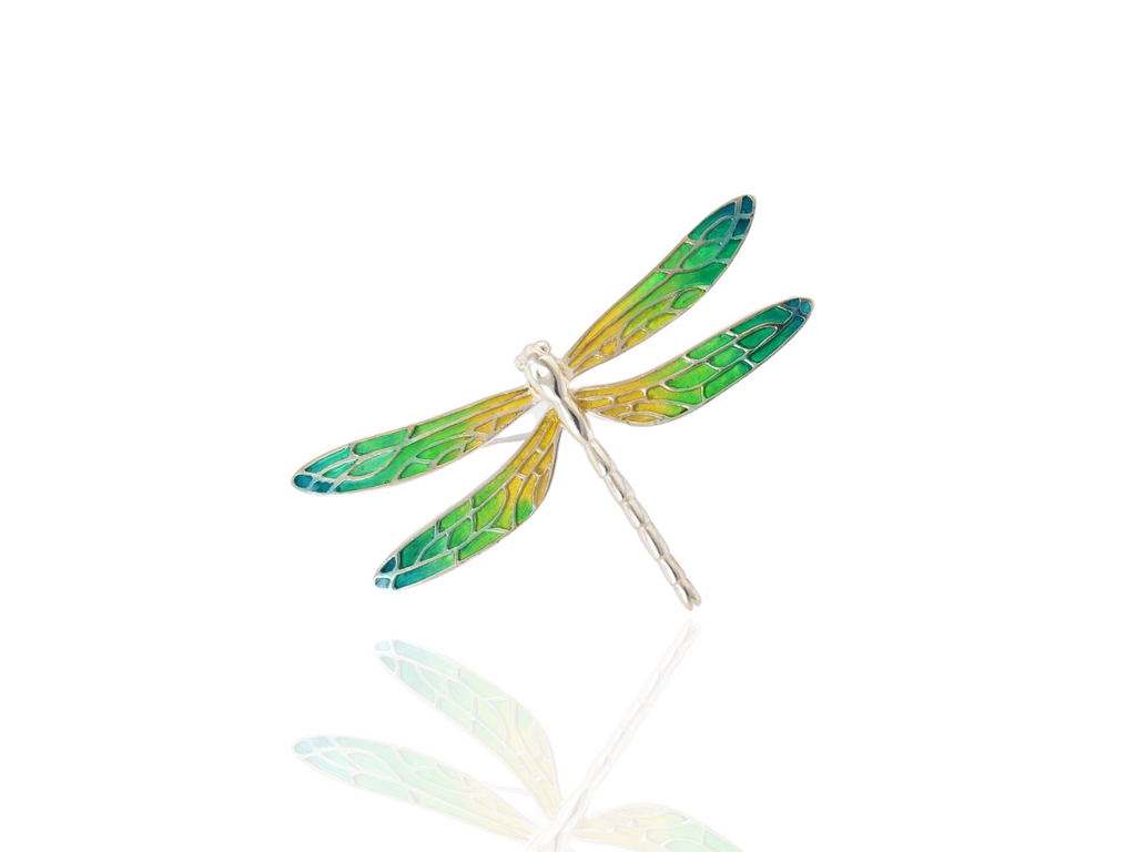 dragonfly brooch in silver - green