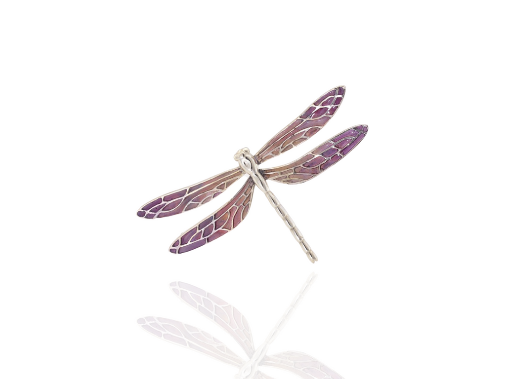 dragonfly brooch silver - purple