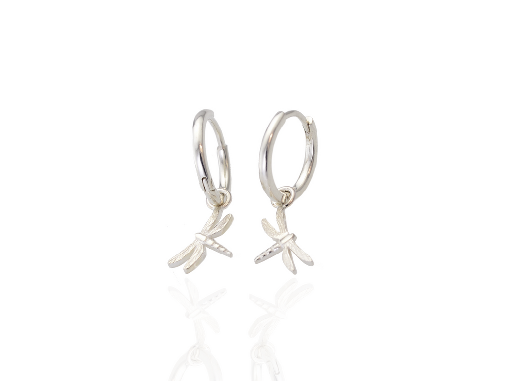 dragonfly hoop earrings in silver