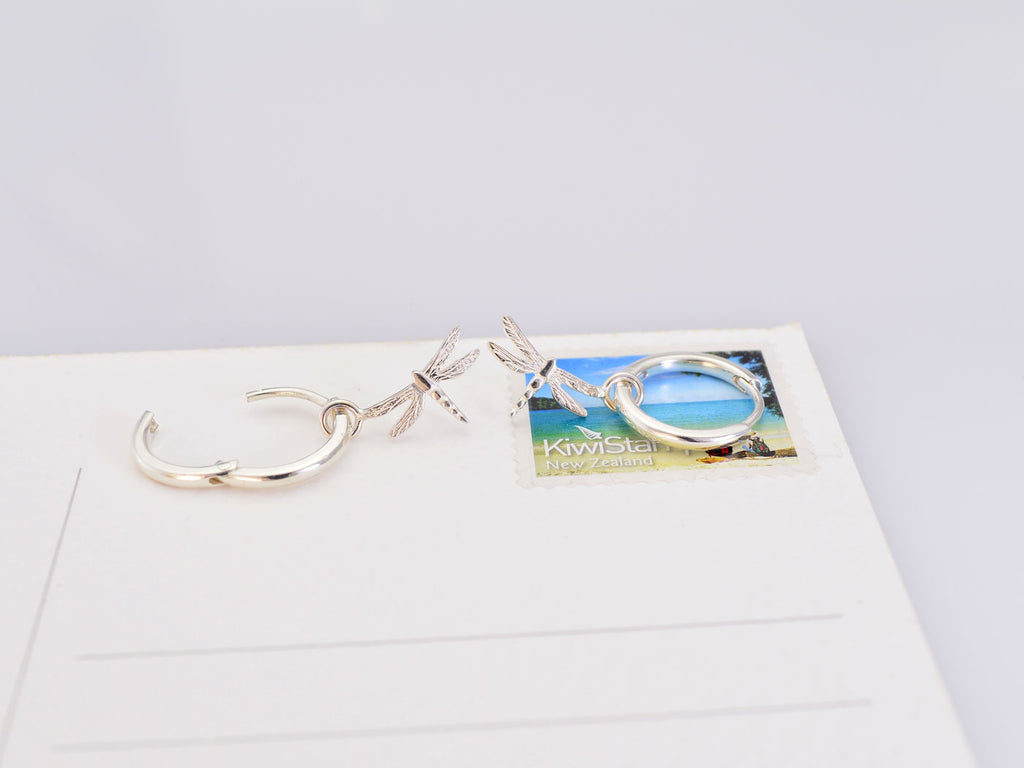 dragonfly hoop earrings on size sample