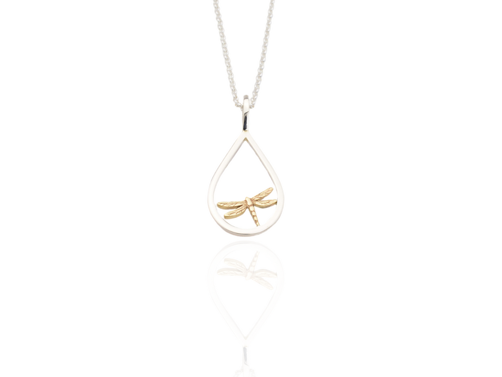 dragonfly pendant in silver and gold