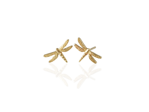 dragonfly stud earrings in gold