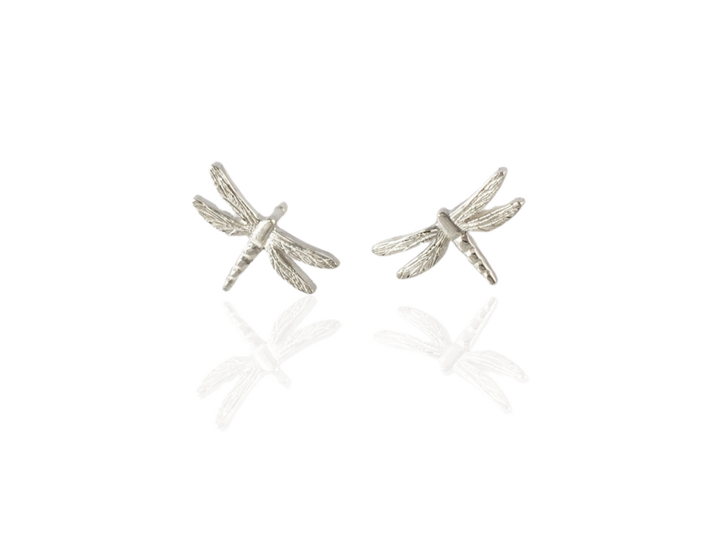 dragonfly stud earrings in silver