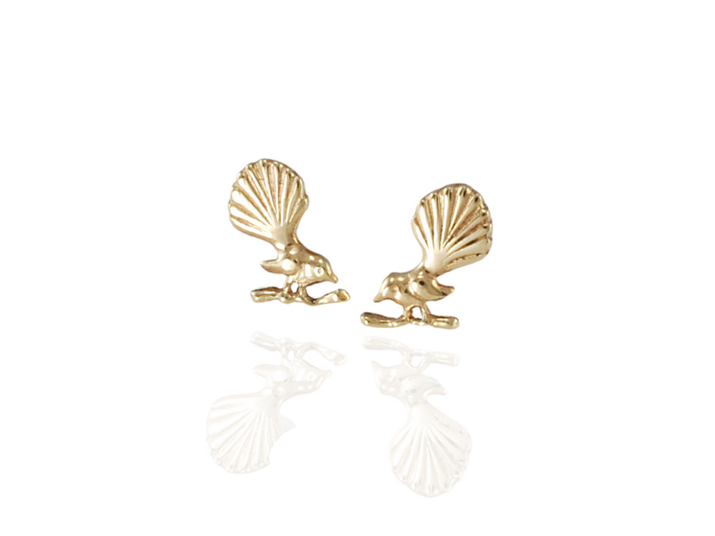 nz fantail bird stud earrings in gold