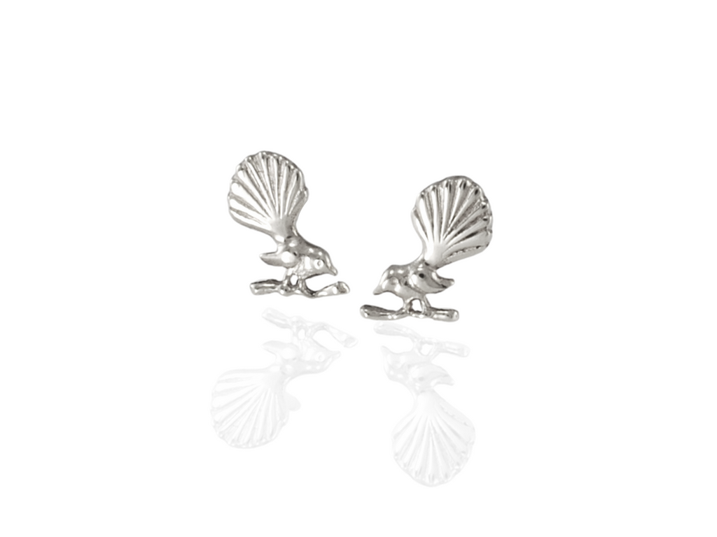 nz fantail bird stud earrings in silver